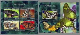 MALDIVES 2020 MNH Butterflies Schmetterlinge Papillons M/S+S/S - OFFICIAL ISSUE - DHQ2030 - Butterflies