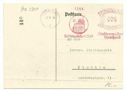 """DR Freistempler Stralsund """"Stadtverwaltung"""" Auf Postkarte 1935 Nach Stettin - Briefe U. Dokumente"""