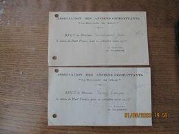 """CLARY ASSOCIATION DES ANCIENS COMBATTANTS """"LE SOUVENIR DE CLARY""""  RECUS ANNEE 1938 LE TRESORIER H. FLAMENT - Historische Dokumente"""