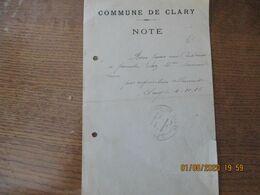 CLARY LE 4-10-15 MAIRIE REQUISITION ALLEMANDE BON POUR UN CADENAS A PRENDRE CHEZ Mme DENIMAL VEUVE - Historische Dokumente