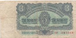Tchécoslovaquie : 3 Koruny 1961 Mauvais état - Qatar