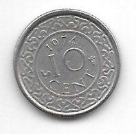 *suriname 10  Cents 1974  Km 13   Xf+/ms60 - Suriname 1975 - ...