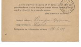 Carte Entier Formule Imprimée  Prisonnier De Guerre Arrivée MERS LES BAINS 4/11/1940 - Guerra De 1939-45