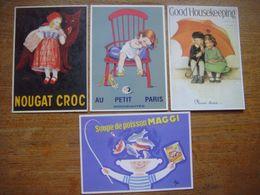 Lot De 4 Jolies Cartes Reproduction De PUBLICITE Ancienne (Nougat Croc/Au Petit Paris/Good Housekeeping/Maggi) - Pubblicitari