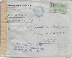 LETTRE PAR AVION RECOMMANDEE 1945 AVEC ETIQUETTE VERTE DE BERAKETA ET CACHET LINEAIRE TAXE PERCUE ET BANDE DE CENSURE - Brieven En Documenten
