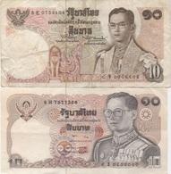 Thaïlande : Pair De 2 Billets Différents : 10 Baht X 2 (état : Mauvais + Bon) - Thaïlande