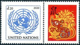 2020 - O.N.U. / UN. NAT. - NEW YORK - DA FOGLIO DI FRANCOBOLLI PERSONALIZZATI - ANNO DEL TOPO / YEAR OF THE MOUSE. MNH - Unused Stamps
