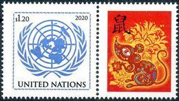 2020 - O.N.U. / UN. NAT. - NEW YORK - DA FOGLIO DI FRANCOBOLLI PERSONALIZZATI - ANNO DEL TOPO / YEAR OF THE MOUSE. MNH - Nuovi