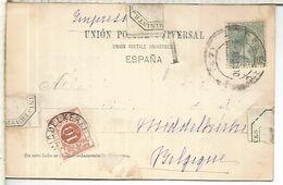 POSTAL LOYOLA DORSO SIN DIVIDIR CON SELLO ALFONSO XIII PELON A BELGICA TASADA EN DESTINO MAT BILBAO IMPRESOS - 1889-1931 Royaume: Alphonse XIII