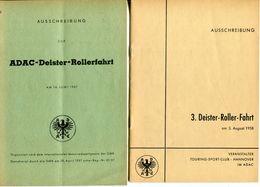 """F0393 - 2 Ausschreibungen Für """"ADAC-Deister-Rollerfahrt"""" 1957 - 1958 (Motorrad / Motorbike) - Deportes"""