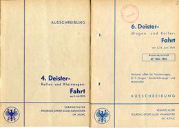 """F0394 - 2 Ausschreibungen Für """"ADAC-Deister-Rollerfahrt"""" 1959 + 1961 (Motorrad / Motorbike) - Deportes"""
