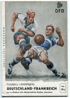 """F0395 - Programmheft """"Fußball-Länderspiel Deutschland-Frankreich"""" Hannover 1954 (Football / Soccer) - Other"""