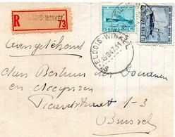 N° 725 Et 727 (Oostende-Dover) Sur Lettre Recommandée De St-Eloois-Winkel Vers Brussel - Belgium