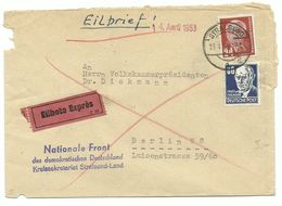 """DDR Stegstempel Stralsund Auf Eil-Brief """"Nationale Front"""" 1953 Nach Berlin - DDR"""