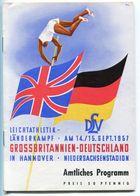 """F0400 - Programmheft """"Leichtathletik-Länderkampf Großbritannien-Deutschland"""", Hannover 1957 - Athlétisme"""