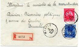 N° 748 Et 749 Sur Lettre Recommandée MAFFLE Vers Bruxelles - Belgium