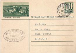 """PK 182  """"Langenthal - Bezirksspital""""           1952 - Postwaardestukken"""