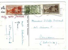 SARRE 1935:  CP Illustrée De Saarbrücken Pour Lausanne (Suisse) Avec Affr. De 90c., TP Et Obl. Spéciaux - 1920-35 League Of Nations