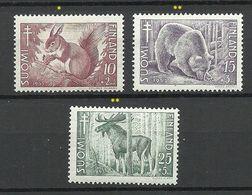 FINLAND FINNLAND 1953 Michel 418 - 420 Tiere Elch Etc Tuberkulose MNH/MH - Finland