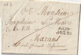 """1818 LAC D'ARLES Pour MARANS MARQUE POSTALE """"P12P ARLES """" Port Payé Taxe 9 Au Verso - 1801-1848: Vorläufer XIX"""