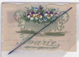 Carte Celluloïde ; Prénom Marie - Corbeille De Pensés - Prénoms