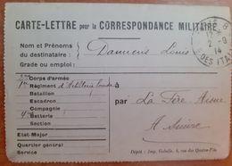 Carte Lettre Pour La Correspondance  Militaire.artillerie Lourde  Sept 1914.G 10 /24 - 1914-18