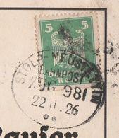 Deutsches Reich Karte Mit Bahnpost Stolp - Neustettin Zug 981 1926 Pommern - Deutschland