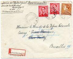 N° 925 (2) Et 847 Sur Lettre Recommandée De Schaerbeek 5 Vers Bruxelles - 1953-1972 Glasses