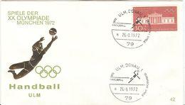 GERMANY 1972 Olympic Games In Munich Olympic With Cancel Handball Ulm Donau 1 - Pallamano
