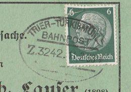 Deutsches Reich Karte Mit Bahnpost Trier - Türkismühle Zug 3242 1938 Mit Werbung Und Zeichnung - Storia Postale