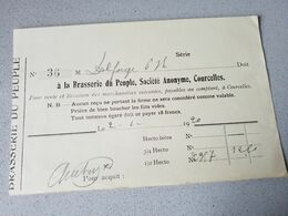 Courcelles Brasserie Du Peuple Reçu  De 1920 Document Originale - 1900 – 1949