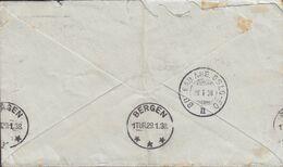 South Africa PAR AVION Label 'Telegramme' CAPETOWN Kaapstad 1938 Cover Brief BERGEN Norway BUREAU Ambulant OSLO-ED Cds. - Norwegen