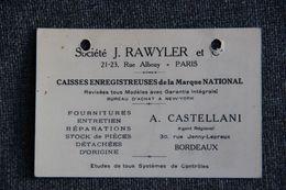 Carte De Visite De A.CASTELLANI, Commercial De La Sté J.RAWLER, Fabriquant De Caisses Enregistreuses. - Visiting Cards