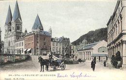 Spa -  L'Eglise Et Le Pouhon (animée Colorisée Attelage 1901 H M Uccle) - Spa