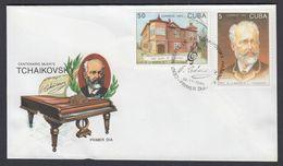 FDC CUBA 1993. CENTENARIO DE LA MUERTE DE TCHAIKOVSKY. EDIFIL 3877/80 - FDC