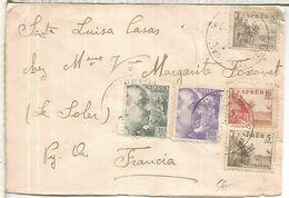 CASTELLFULIT DE LA ROCA ?  GERONA CC A FRANCIA SELLOS CID FRANCO PERFIL CENSURA BARCELONA - 1931-50 Briefe U. Dokumente