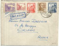 PAGUERA BALEARES CC A ORLEANS SELLOS FRANCO CID Y AUXILIO VICTIMAS DE GUERRA - 1931-50 Briefe U. Dokumente