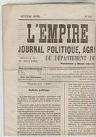 "JOURNAL BI-HEBDOMADAIRE 4 PAGES ""L""EMPIRE LIBERAL"" N°132 DU 6/01/1869 - 1850 - 1899"