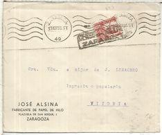 ZARAGOZA A VITORIA GUERRA CIVIL 1938 CON CENSURA MILITAR - 1931-50 Briefe U. Dokumente