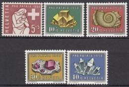 SCHWEIZ  657-661,  Postfrisch **, Pro Patria 1958, Mineralien Und Versteinerungen - Pro Patria