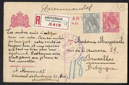 Pays Bas - Carte Postale Recommandé De 1916 - Entiers Postaux - Oblit Amsterdam - Exp Vers Bruxelles -  Recto/Verso. - Periodo 1891 – 1948 (Wilhelmina)