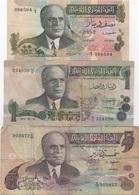 Tunisie : Lot De 3 Billets 1973 : 1/2 Dinar + 1 Dinar + 5 Dinars (état : Bon-moyen-mauvais) - Tusesië