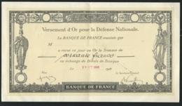 Reçu Versement D'or Pour La Défense Nationale , 29/10/1916 -  Qaa6708 - 1914-18