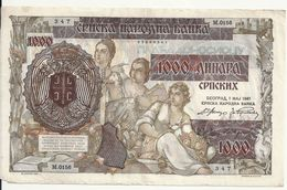SERBIE 1000 DINARA 1941 VF P 24 - Serbia