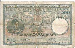 YOUGOSLAVIE 500 DINARA 1935 VG+ P 32 - Jugoslawien