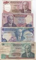 Tunisie : Lot De 4 Billets 1980-83 : 1 + 5 + 10 + 20 Dinars (état : Bon-moyen-moyen-mauvais) - Tusesië