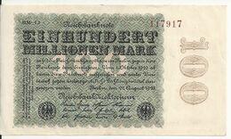 ALLEMAGNE 100 MO MARK 1923 VF+ P 107 - 100 Miljoen Mark