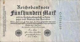 ALLEMAGNE 500 MARK 1922 VF P 74 - [ 3] 1918-1933 : Repubblica  Di Weimar