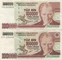 Turquie Turkey : Pair De 2 Billets Jumeaux 100000 Lirasi (sans Et Avec PUCE?) - Turquie