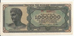 GRECE 1 MILLION DRACHMAI 1944 VF+ P 127 - Greece